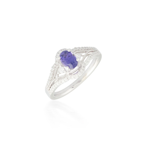 Purple Sapphire and Diamond Ring with Split-band