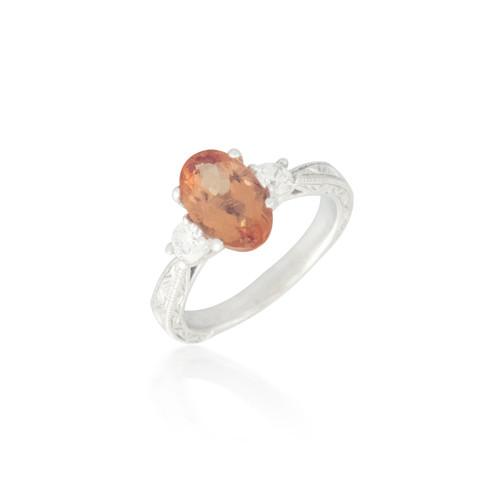 Three Stone Orange Topaz and Diamond Ring