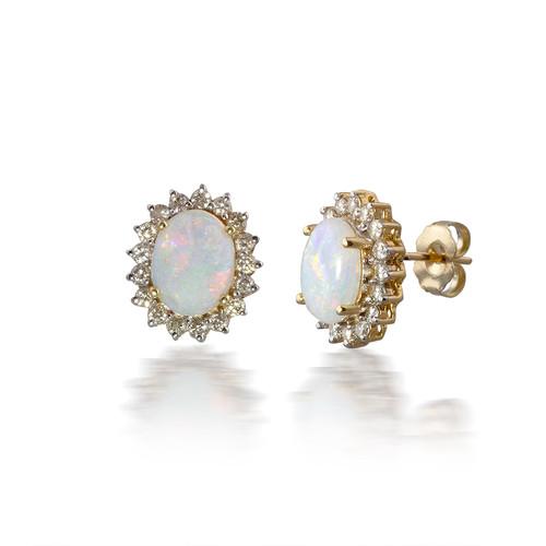 Opal Earrings with Flower Halo
