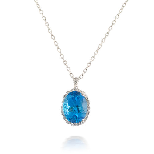 Huge Oval Blue Topaz and Diamond Pendant