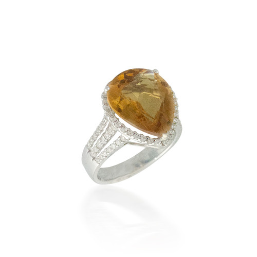 Pear-Shaped Citrine Ring with Diamond Halo