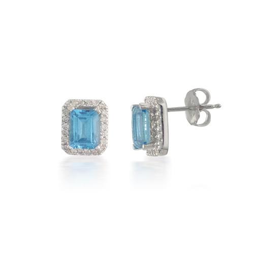 Emerald-cut Blue Topaz and Diamond Earrings