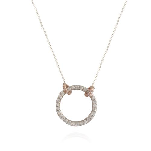 Diamond Circle Pendant with Rose Gold Halos