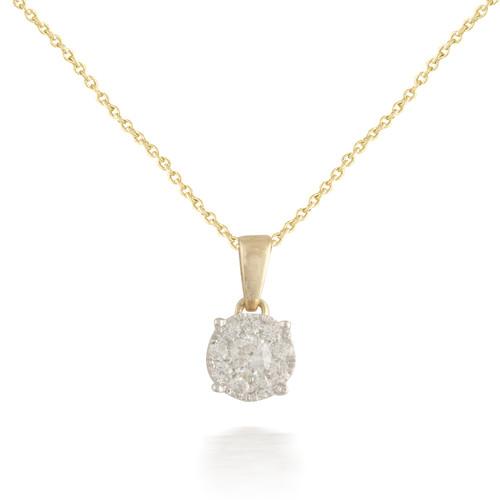 Tiny Yellow Gold Diamond Pendant