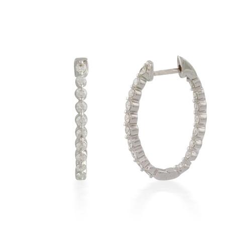 3.00ct Oval Button-back Diamond Hoop Earring