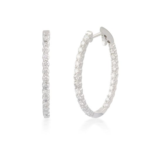 4.00ct Oval Button-back Diamond Hoop Earring