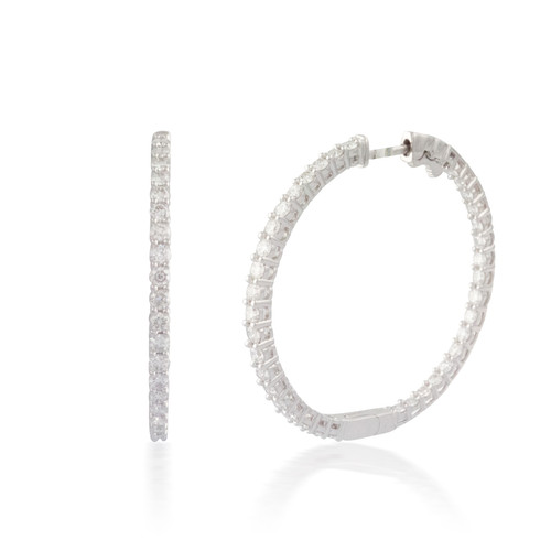 3.00ct Round Button-back Diamond Hoop Earring