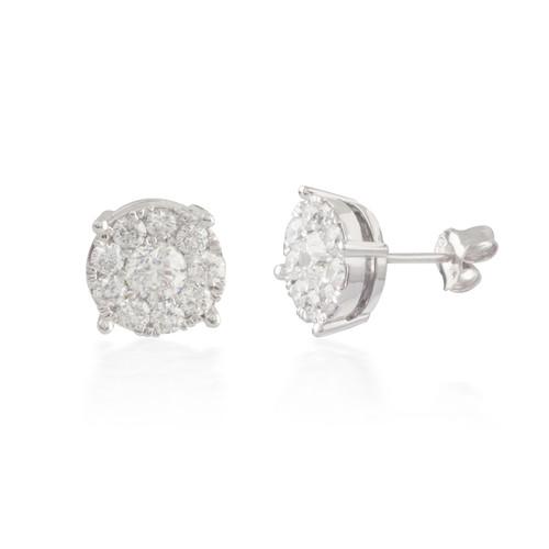 Round Diamond Cluster Stud Earrings
