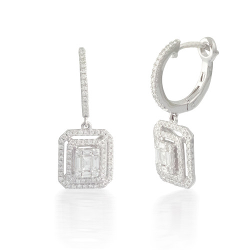 Grooved Baguette and Round Diamond Earrings