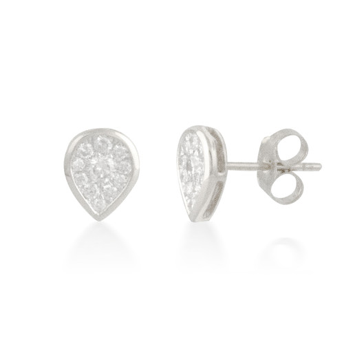 Pear Diamond Cluster Stud Earrings