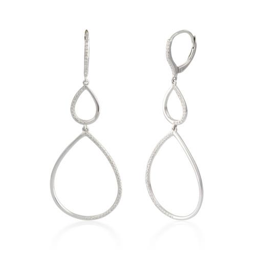 0.33ctw Diamond Pear Hoop Earrings