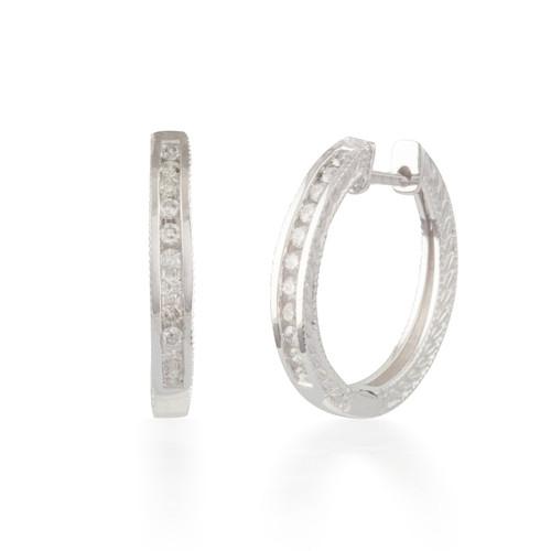 0.25ctw Engraved Diamond Hoop Earrings