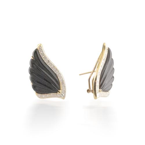 Onyx and Diamond Wing Earrings