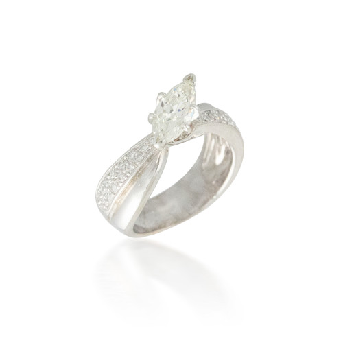 Off-set Marquise Diamond Engagement Ring