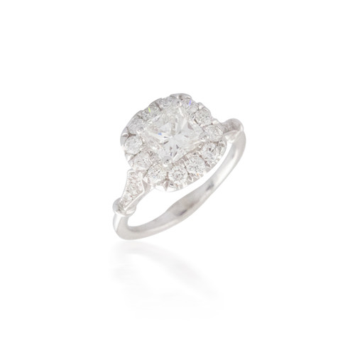 Vintage Style Radiant Diamond Engagement Ring