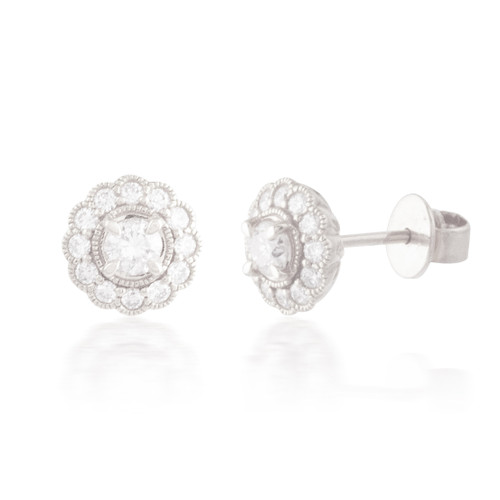 0.70ctw Diamond Flower Stud Earrings