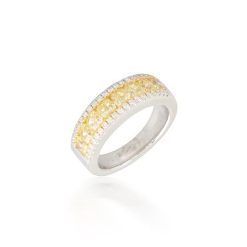 2.25ctw Yellow and White Diamond Band