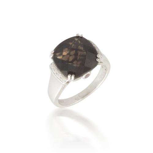 Smokey Topaz and Diamond Ring