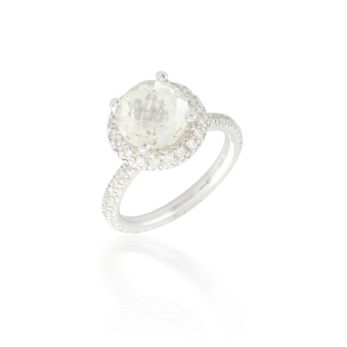 3.00ct Lime Quartz and Diamond Ring