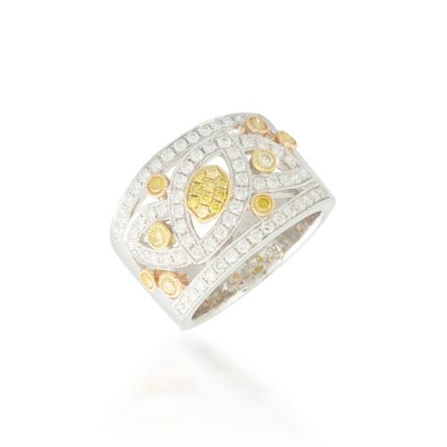 0.95ctw Yellow and White Diamond Band
