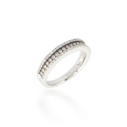 0.45ctw Champagne and White Diamond Band