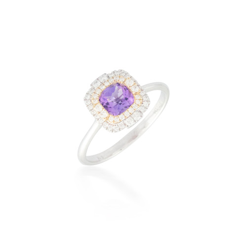 Amethyst Ring with Double Diamond Halo