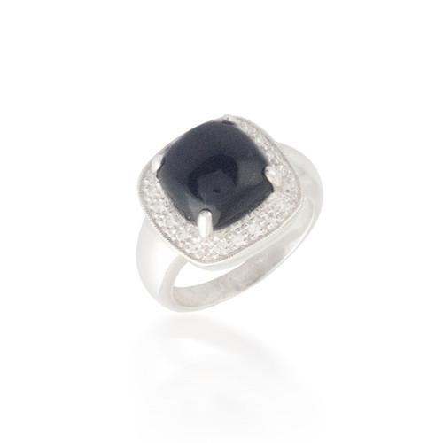 Cabochon Cut Onyx and Diamond Ring