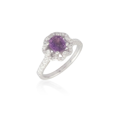 Pink Sapphire and Diamond Ring with Flower Halo