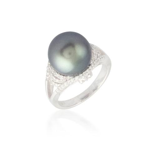 Black Pearl and Diamond Halo Ring 2