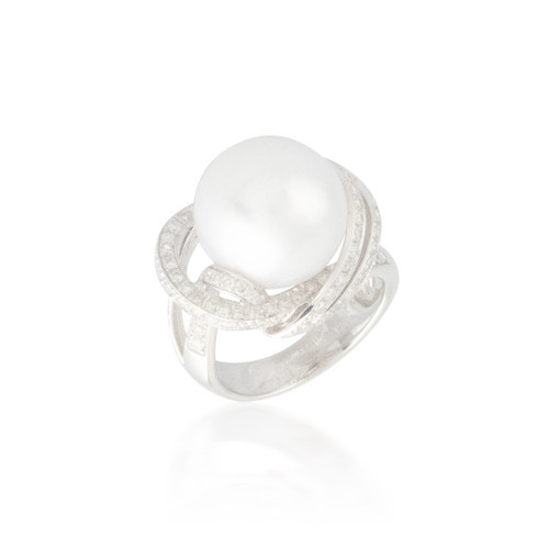 White Pearl and Diamond Halo Ring 2