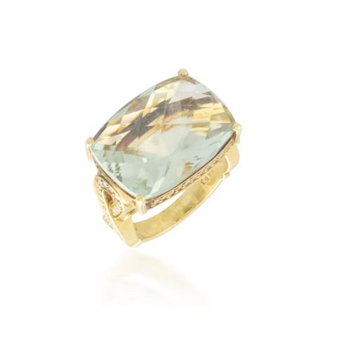 Wide Aquamarine Topaz and Diamond Ring