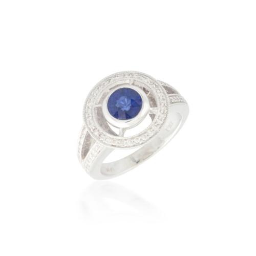 Orbiting Halo Sapphire and Diamond Ring