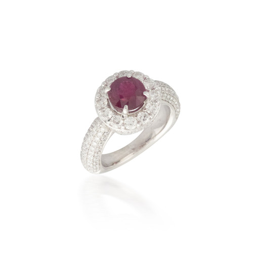 Large Ruby and Diamond Ring