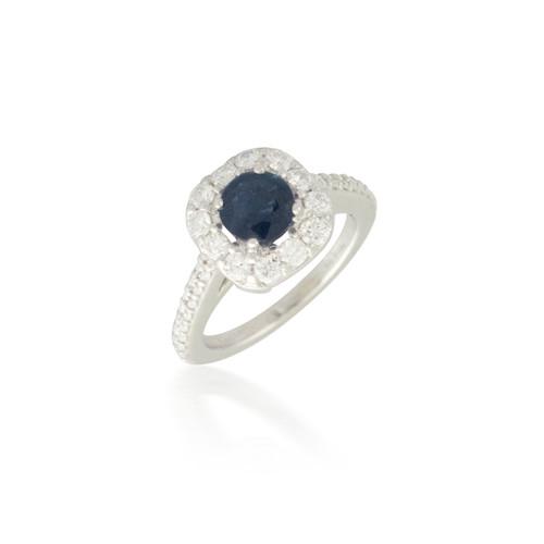 Diamond Halo and Sapphire Ring