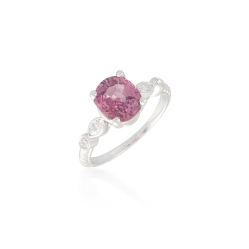 Round Padparadscha Sapphire and Diamond Ring