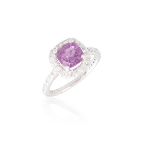 Cushion Padparadscha Sapphire and Diamond Ring
