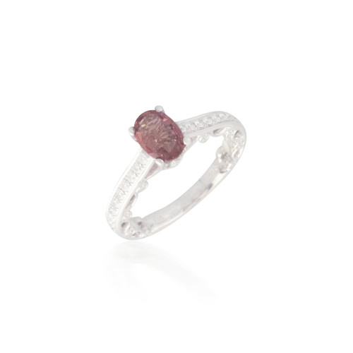 Oval Orange Sapphire and Diamond Ring