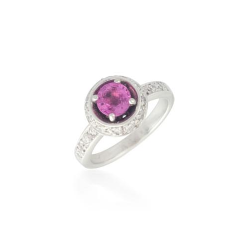 Round Pink Sapphire and Diamond Ring 4