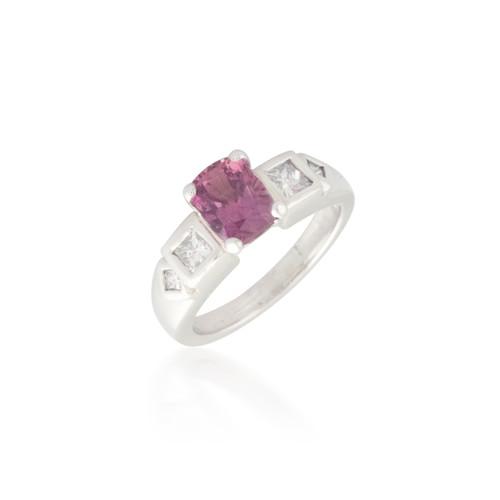 Cushion Padparadscha Sapphire and Diamond Ring 2