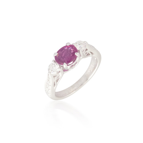 Oval Pink Sapphire and Diamond Ring 8