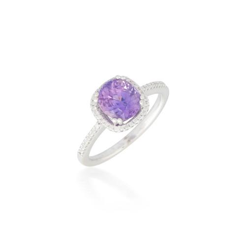 Diamond Halo with Amethyst Ring