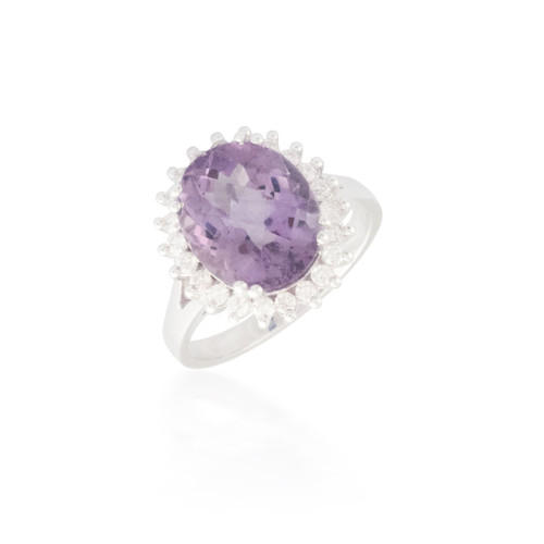 Oval Amethyst and Flower Halo Ring