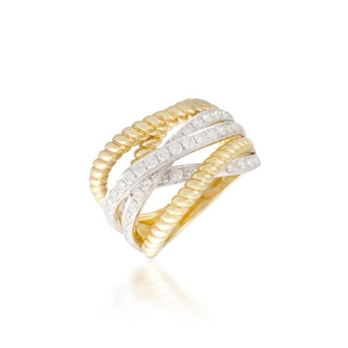 Intersecting two-tone diamond Band