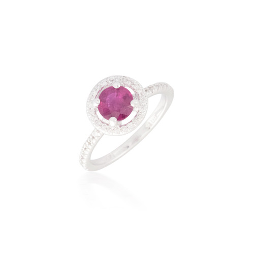 Round Ruby and Diamond Halo Ring 4
