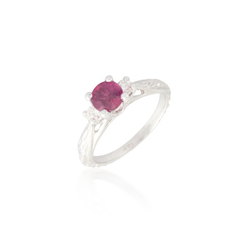 Three Stone Ruby and Diamond Engraved Ring