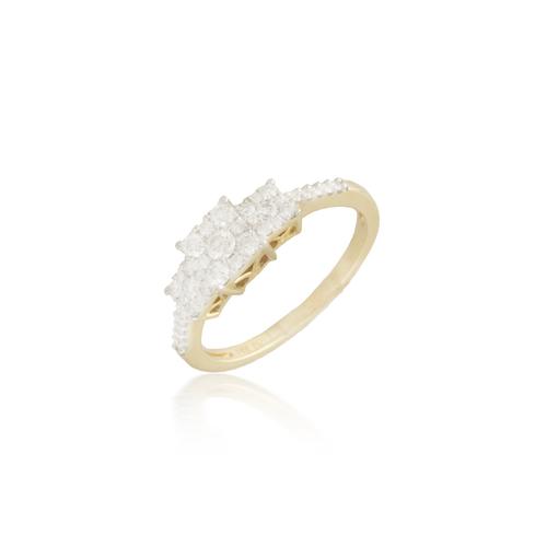 Three Stone Yellow Gold Engagement Ring