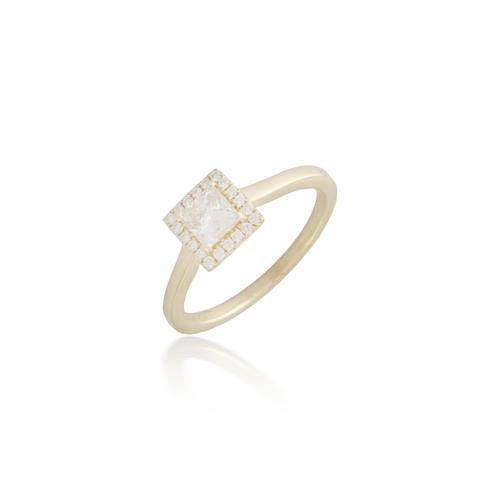 Princess Cut Yellow Gold Engagement Ring