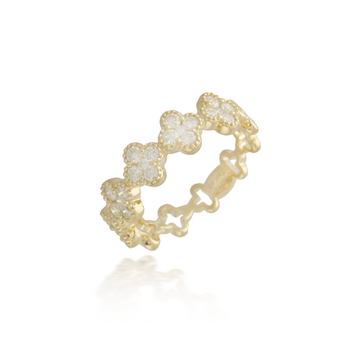 Flower Yellow Gold Band
