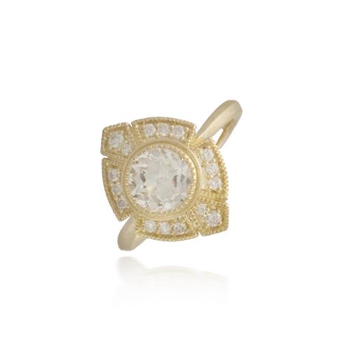 White Topaz Yellow Gold Ring