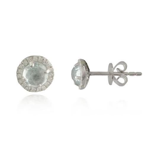 White Gold Aquamarine Earring